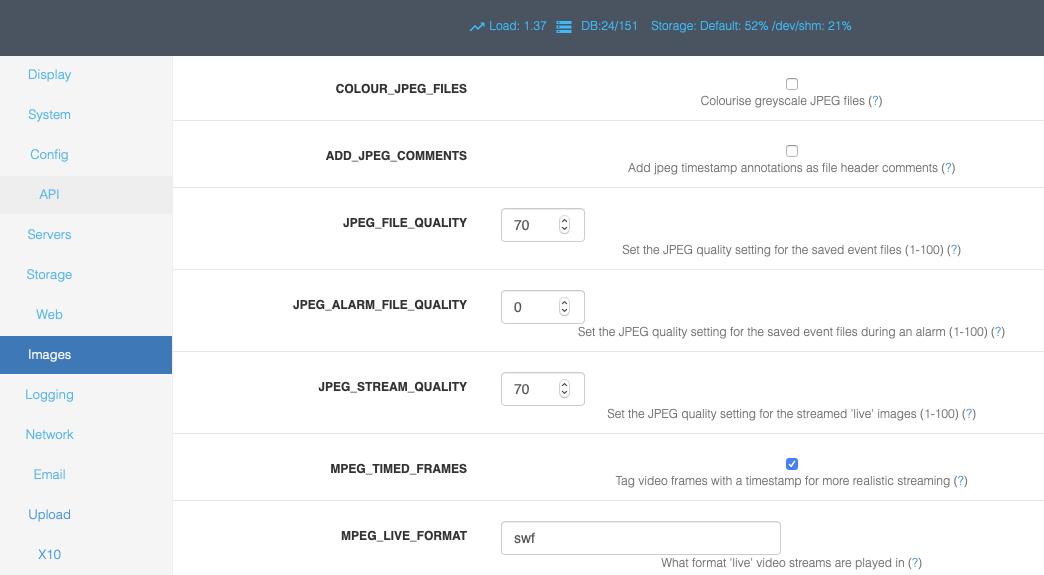 Options - Images — ZoneMinder documentation